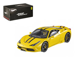 Ferrari 458 Italia Speciale Yellow Elite Edition 1/43 Diecast Car Model by Hotwheels