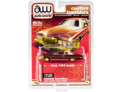 "1976 Cadillac Coupe DeVille Burgundy and Cream with Gold Wheels \Custom Lowriders"" Limited Edition to 4800 pieces Worldwide 1/64 Diecast Model Car by Autoworld"""