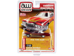 "1976 Cadillac Coupe DeVille Burgundy and White with Chrome Wheels \Custom Lowriders"" Limited Edition to 4800 pieces Worldwide 1/64 Diecast Model Car by Autoworld"""
