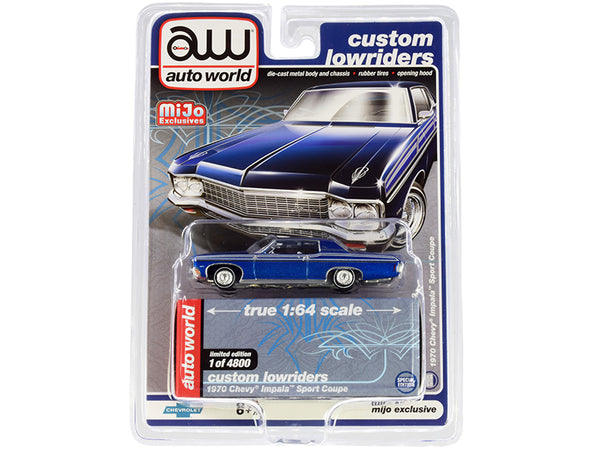 "1970 Chevrolet Impala Sport Coupe Blue Metallic \Custom Lowriders"" Limited Edition to 4800 pieces Worldwide 1/64 Diecast Model Car by Autoworld"""