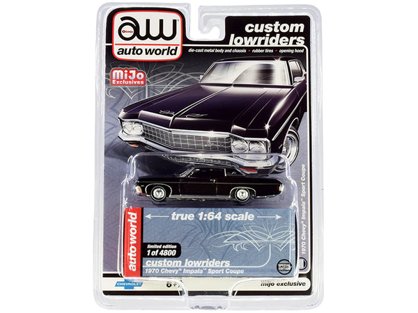 "1970 Chevrolet Impala Sport Coupe Black \Custom Lowriders"" Limited Edition to 4800 pieces Worldwide 1/64 Diecast Model Car by Autoworld"""
