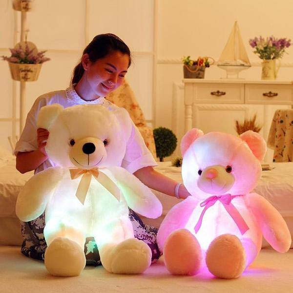 50Cm Creative Light Up Led Teddy Bear Stuffed Animals Plush Toy - White - Soft Toys