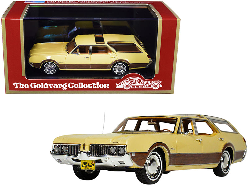 1969 Oldsmobile Vista Cruiser with Roof Rack Safron Yellow with Wood Paneling Limited Edition to 230 pieces Worldwide 1/43 Model Car by Goldvarg Collection