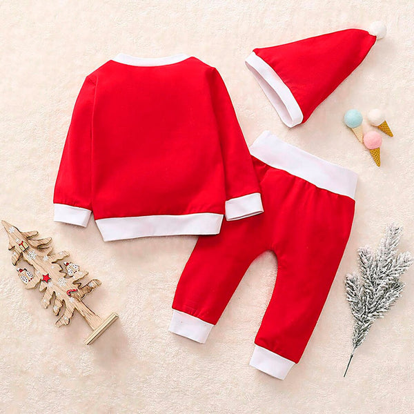 Christmas Cartoon Print Pajamas Sleepwear Outfits+Hat