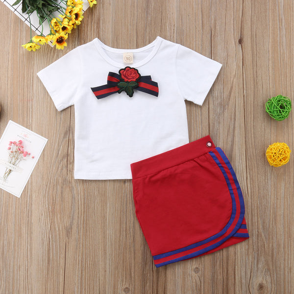 Girls Bow Flower Uniform Tie T-shirt Short Mini Skirt Outfits