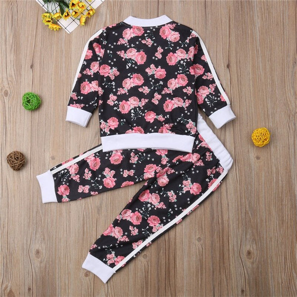 3-7 Years Kids Baby Girl Clothes Set Floral Print