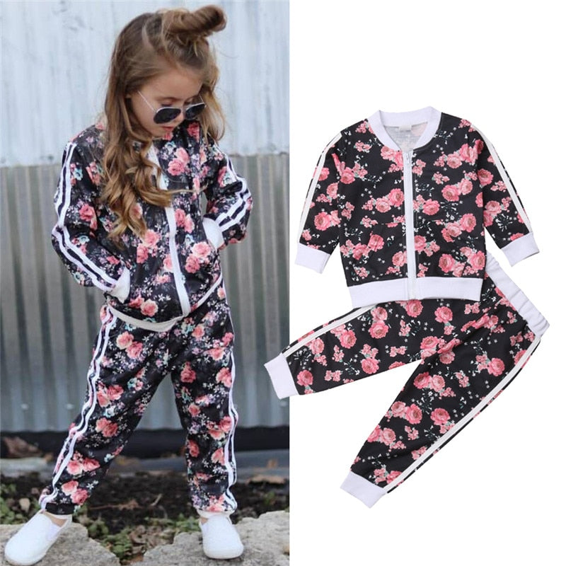 3-7 Years Kids Baby Girl Clothes Set Floral Print Long Sleeve Sweatshirt