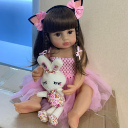 55CM reborn pink princess bath toy very soft full body silicone girl doll