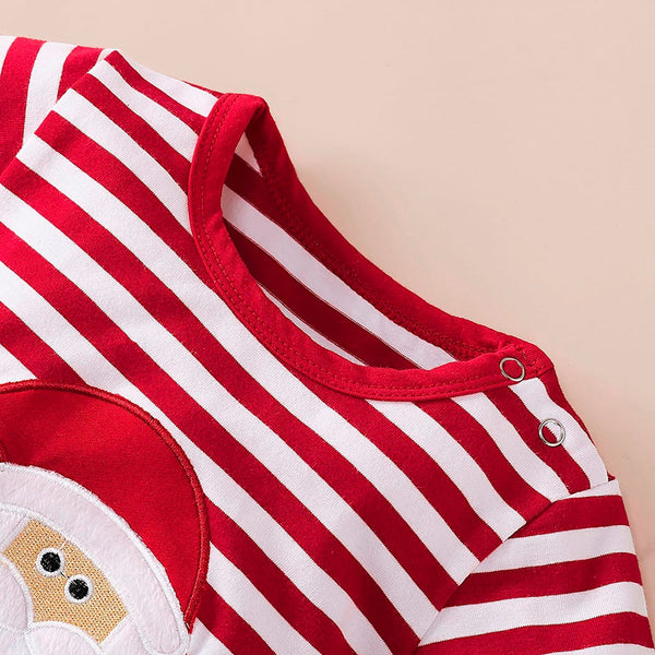 Long Sleeve Christmas Striped Romper