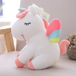 25cm 40cm 55cm lovely unicorn plush toy pink fly horse with rainbow wings