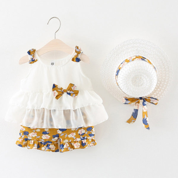 Baby Girl Sets Clothes Outfit 3Piece Bow White Ruffles Top