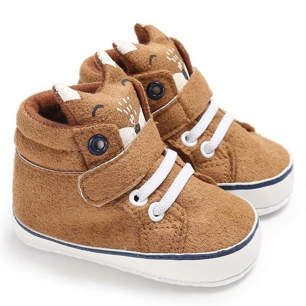 1 Pair Autumn Baby Shoes Kid Boy Girl Fox Head Lace Cotton Cloth First Walker Anti-slip