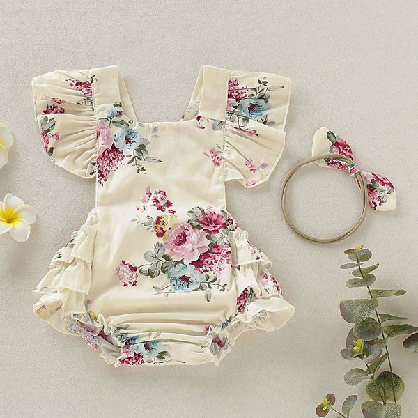 Girls Romper Jumpsuit Headband Floral Outfits