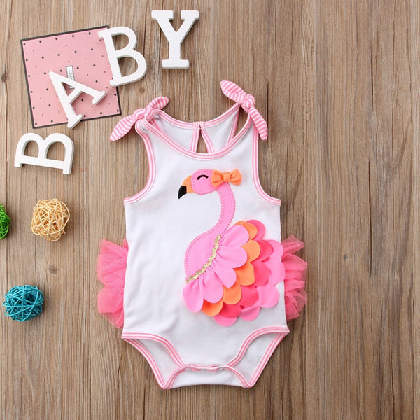 Flamingo Flower Bow Newborn Baby Girl Romper Clothing