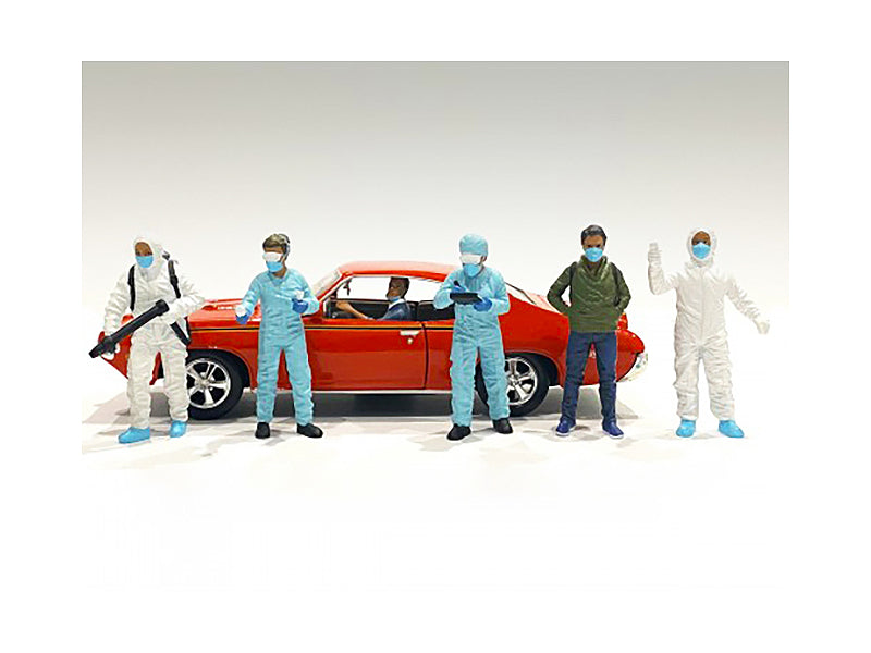 Hazmat Crew 6 piece Figurine Set for 1/24 Scale Models by American Diorama