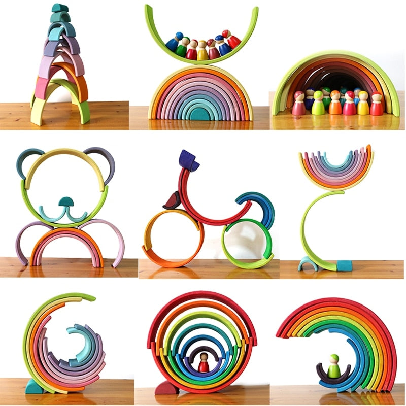Rainbow Building Blocks Montessori Educational Toy