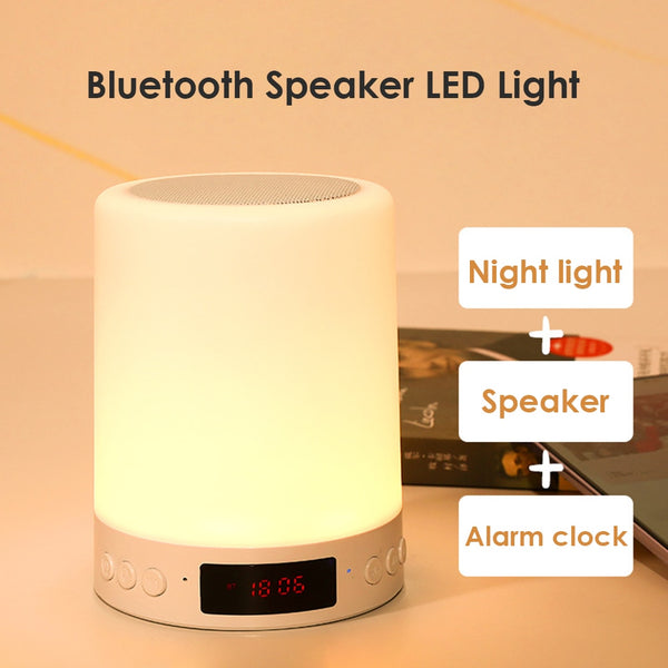 USB Rechargeable LED Table Night LampUSB Rechargeable LED Table Night Lamp Touch Dimmable Portable Bluetooth Speaker Digital Alarm Clock