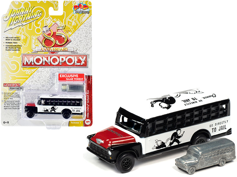 "1956 Chevrolet School Bus White and Black with Red Hood and Game Token \Monopoly 85th Anniversary"" \""Pop Culture\"" Series 1/64 Diecast Model by Johnny Lightning"""