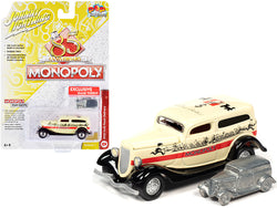 "1933 Ford Panel Delivery Truck Yellow with Red Stripe and Game Token \Monopoly 85th Anniversary"" \""Pop Culture\"" Series 1/64 Diecast Model Car by Johnny Lightning"""