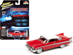 "1958 Plymouth Fury Red with White Top (Daytime Version) \Christine"" (1983) Movie \""Pop Culture\"" Series 1/64 Diecast Model Car by Johnny Lightning"""