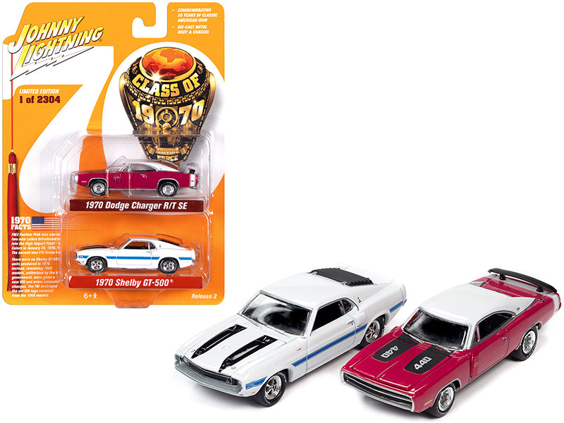 "1970 Dodge Charger R/T SE Panther Pink and 1970 Ford Mustang Shelby GT500 White Set of 2 pieces \Class of 1970"" Limited Edition to 2304 pieces Worldwide 1/64 Diecast Model Cars by Johnny Li"""