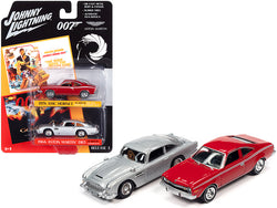 1974 AMC Hornet Red and 1964 Aston Martin DB5 (RHD) Silver (James Bond 007) Set of 2 Cars 1/64 Diecast Model Cars by Johnny Lightning