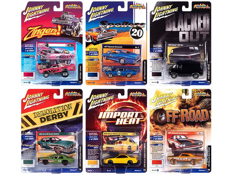 "\Street Freaks"" 2020 Set A of 6 Cars Release 2 1/64 Diecast Model Cars by Johnny Lightning"""