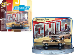 "1967 Chevrolet Camaro Gold with Gold Interior with Collectible Tin Display \The First Chevrolet Camaro"" \""Greetings from Norwood - Birth Place of the Camaro\"" 1/64 Diecast Model Car by John"""