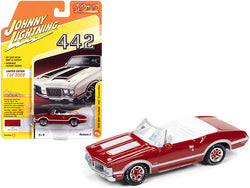 "1970 Oldsmobile Cutlass 442 Convertible Matador Red with White Stripes and White Interior \Classic Gold Collection"" Limited Edition to 3008 pieces Worldwide 1/64 Diecast Model Car by Johnny"""