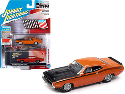 1970 Plymouth AAR Barracuda Vitamin C Orange with Black Stripes and Hood and Collector Tin Limited Edition to 4540 pieces Worldwide 1/64 Diecast Model Car by Johnny Lightning