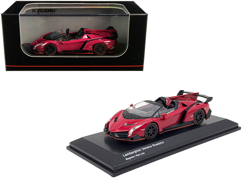 Lamborghini Veneno Roadster Magenta with Red Line 1/64 Diecast Model Car by Kyosho