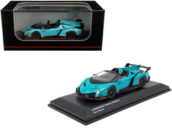 Lamborghini Veneno Roadster Light Blue with Red Line 1/64 Diecast Model Car by Kyosho