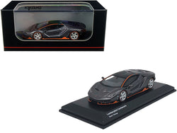 Lamborghini Centenario Black Metallic with Orange Accents 1/64 Diecast Model Car by Kyosho