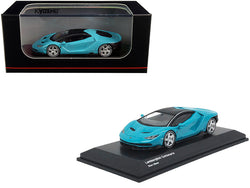 Lamborghini Centenario Light Blue with Black Top 1/64 Diecast Model Car by Kyosho