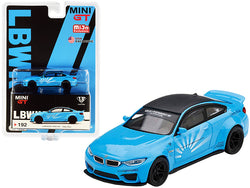 BMW M4 LB Works Baby Blue with Carbon Top Limited Edition to 1800 pieces Worldwide 1/64 Diecast Model Car by True Scale Miniatures