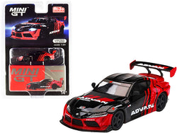 "Toyota GR Supra RHD (Right Hand Drive) \HKS Advan"" Black and Red Limited Edition to 3000 pieces Worldwide 1/64 Diecast Model Car by True Scale Miniatures"""