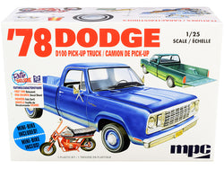 Skill 2 Model Kit 1978 Dodge D100 Pickup Truck with Mini Bike 1/25 Scale Model by MPC