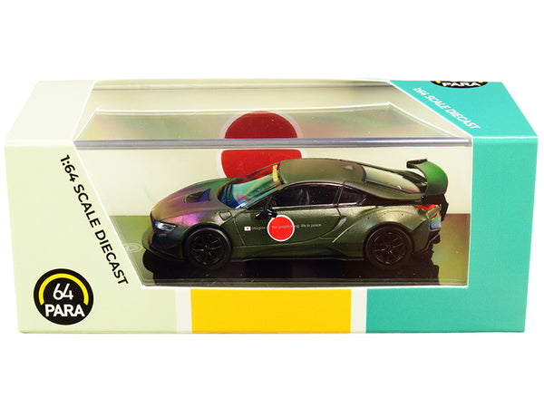 BMW i8 Zero Liberty Walk Dark Green 1/64 Diecast Model Car by Paragon
