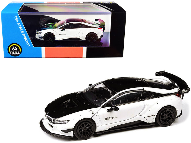 BMW i8 Liberty Walk White and Black 1/64 Diecast Model Car by Paragon