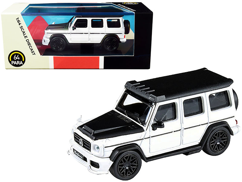Mercedes AMG G63 Liberty Walk Wagon White with Black Hood and Top 1/64 Diecast Model Car by Paragon