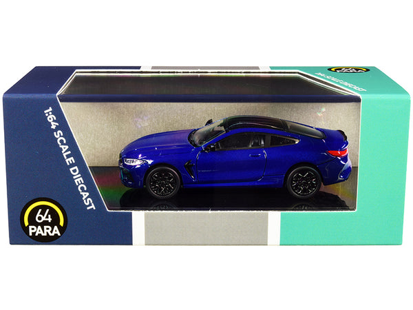 BMW M8 Coupe Marina Bay Blue Metallic with Black Top 1/64 Diecast Model Car by Paragon