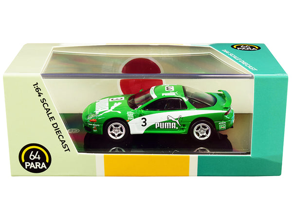 "Mitsubishi 3000GT GTO RHD (Right Hand Drive) #3 \Puma"" Green and White 1/64 Diecast Model Car by Paragon"""