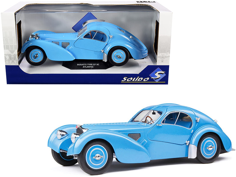 1937 Bugatti Type 57 SC Atlantic RHD (Right Hand Drive) Light Blue 1/18 Diecast Model Car