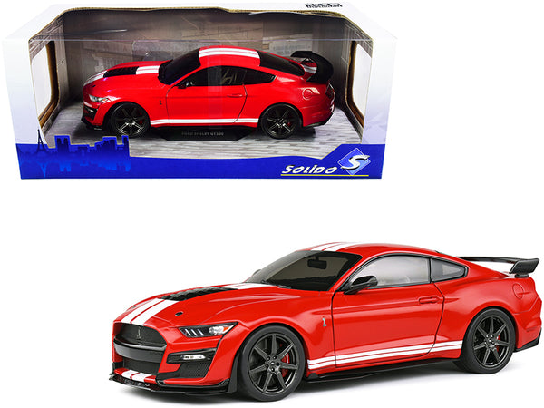 2020 Ford Mustang Shelby GT500 Red with White Stripes 1/18 Diecast Model Car by Solido