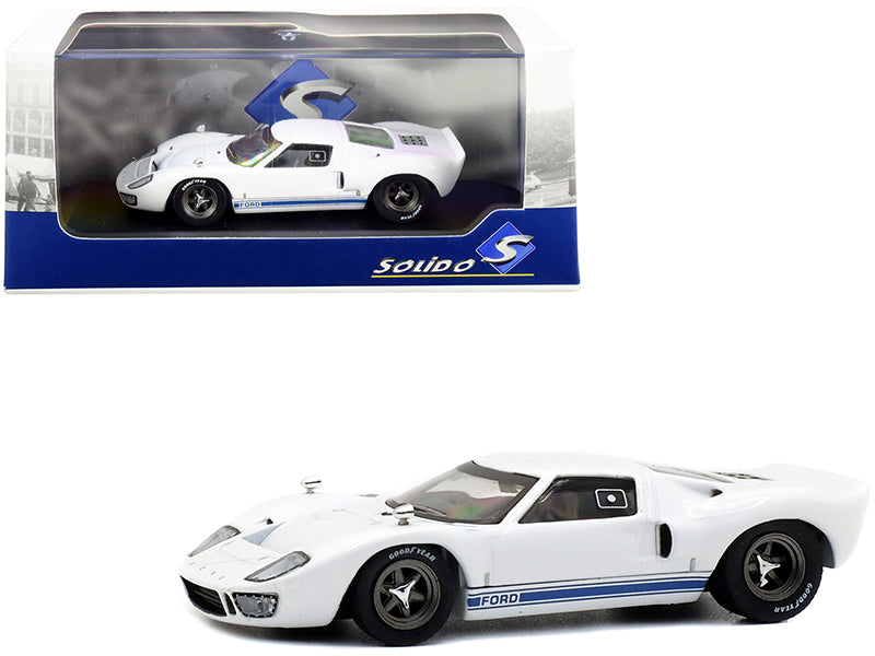 1966 Ford GT40 White with Blue Stripes 1/43 Diecast Model Car by Solido