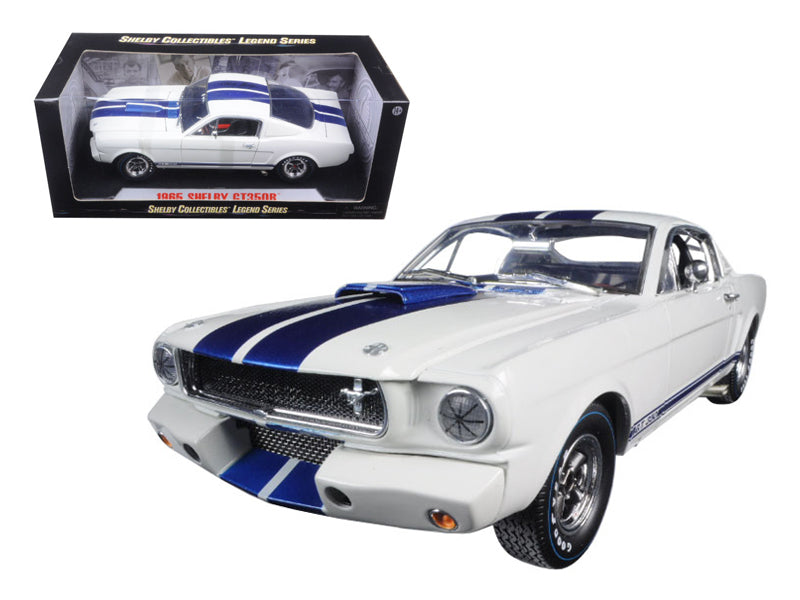 1965 Ford Mustang Shelby GT350R White with Blue Stripes and Printed Carroll Shelby