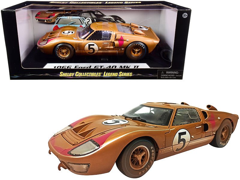1966 Ford GT-40 MK II #5 Gold After Race (Dirty Version) 1/18 Diecast Model Car by Shelby Collectibles
