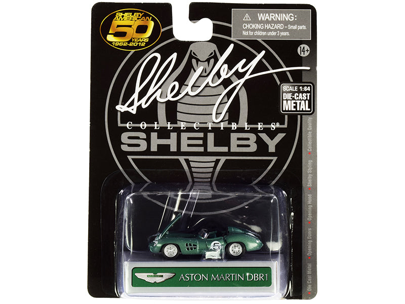 Aston Martin DBR1 #5 Green Metallic 1/64 Diecast Model Car by Shelby Collectibles