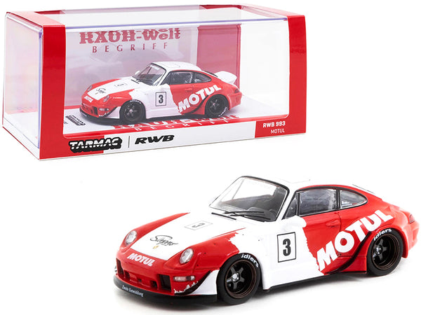 "Porsche RWB 993 #3 \Motul"" Red and White \""RAUH-Welt BEGRIFF\"" 1/43 Diecast Model Car by Tarmac Works"""