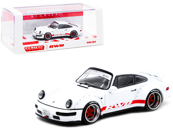 "Porsche RWB 964 White with Red Stripes Special Edition \RAUH-Welt BEGRIFF"" 1/64 Diecast Model Car by Tarmac Works"""
